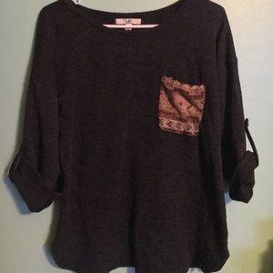 Dark Grey Sweater with Accent Pocket